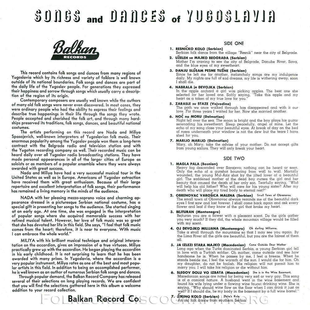 songs and dances of yugoslavia balkan blp 5006